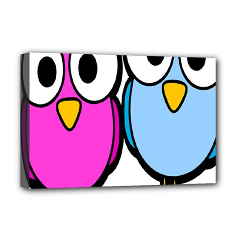 Bird Big Eyes Pink Blue Deluxe Canvas 18  X 12   by Alisyart