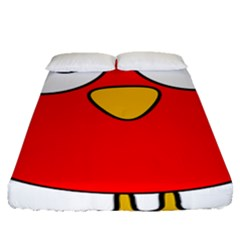 Bird Big Eyes Red Fitted Sheet (queen Size) by Alisyart