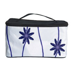 Geometric Flower Seamless Repeating Pattern With Curvy Lines Cosmetic Storage Case by Simbadda