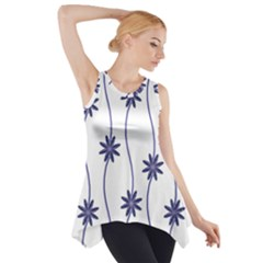 Geometric Flower Seamless Repeating Pattern With Curvy Lines Side Drop Tank Tunic by Simbadda