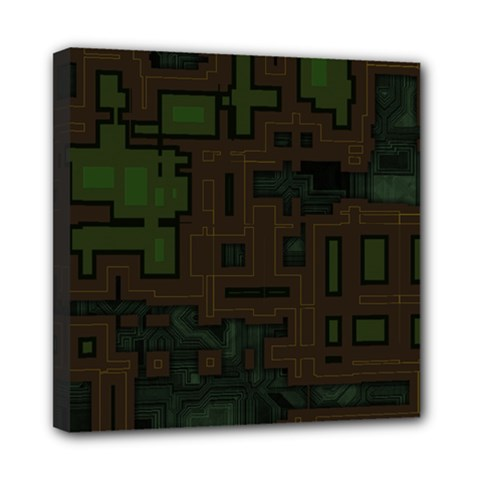 Circuit Board A Completely Seamless Background Design Mini Canvas 8  X 8  by Simbadda