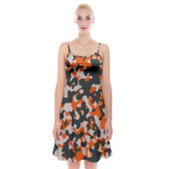 Camouflage Texture Patterns Spaghetti Strap Velvet Dress by Simbadda