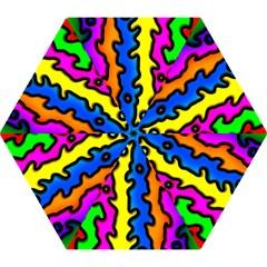 Digitally Created Abstract Squiggle Stripes Mini Folding Umbrellas by Simbadda