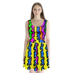 Digitally Created Abstract Squiggle Stripes Split Back Mini Dress