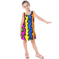 Digitally Created Abstract Squiggle Stripes Kids  Sleeveless Dress by Simbadda