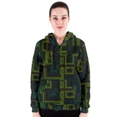 A Completely Seamless Background Design Circuit Board Women s Zipper Hoodie by Simbadda