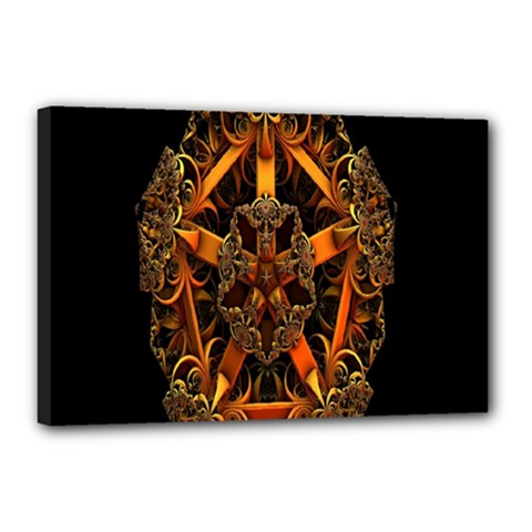 3d Fractal Jewel Gold Images Canvas 18  X 12  by Simbadda