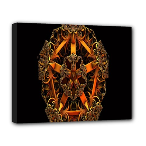 3d Fractal Jewel Gold Images Deluxe Canvas 20  X 16   by Simbadda