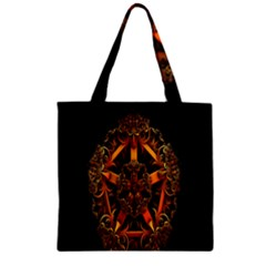3d Fractal Jewel Gold Images Zipper Grocery Tote Bag by Simbadda