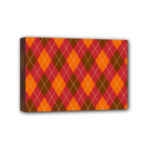 Argyle Pattern Background Wallpaper In Brown Orange And Red Mini Canvas 6  X 4  by Simbadda