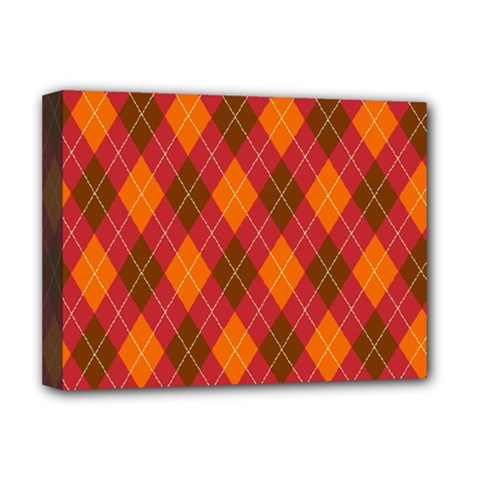 Argyle Pattern Background Wallpaper In Brown Orange And Red Deluxe Canvas 16  X 12   by Simbadda