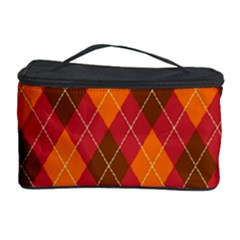 Argyle Pattern Background Wallpaper In Brown Orange And Red Cosmetic Storage Case by Simbadda