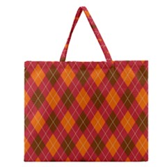 Argyle Pattern Background Wallpaper In Brown Orange And Red Zipper Large Tote Bag by Simbadda
