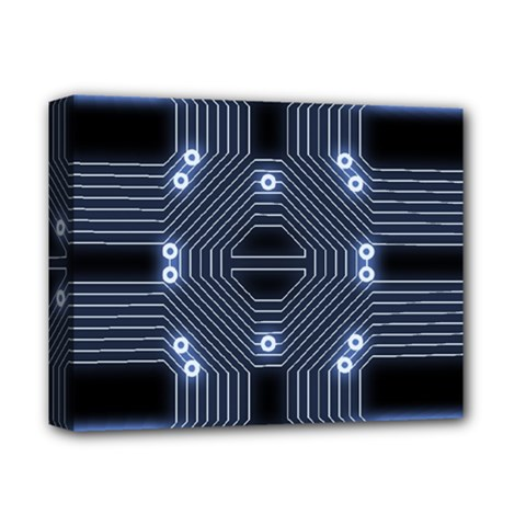 A Completely Seamless Tile Able Techy Circuit Background Deluxe Canvas 14  X 11  by Simbadda