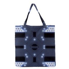 A Completely Seamless Tile Able Techy Circuit Background Grocery Tote Bag by Simbadda