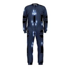 A Completely Seamless Tile Able Techy Circuit Background Onepiece Jumpsuit (kids) by Simbadda