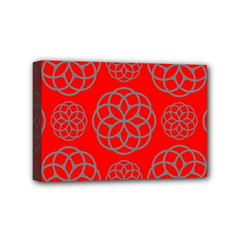 Geometric Circles Seamless Pattern On Red Background Mini Canvas 6  X 4  by Simbadda