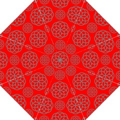 Geometric Circles Seamless Pattern On Red Background Straight Umbrellas by Simbadda