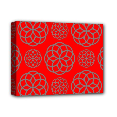 Geometric Circles Seamless Pattern On Red Background Deluxe Canvas 14  X 11  by Simbadda