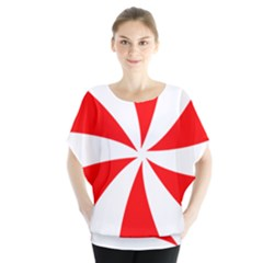 Candy Red White Peppermint Pinwheel Red White Blouse