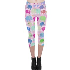 Cute Elephants  Capri Leggings  by Valentinaart
