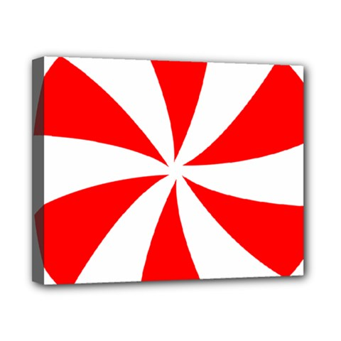 Candy Red White Peppermint Pinwheel Red White Canvas 10  X 8  by Alisyart