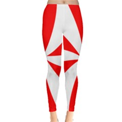 Candy Red White Peppermint Pinwheel Red White Leggings  by Alisyart