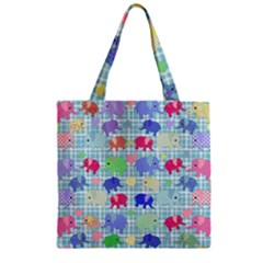Cute Elephants  Zipper Grocery Tote Bag by Valentinaart