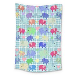 Cute Elephants  Large Tapestry