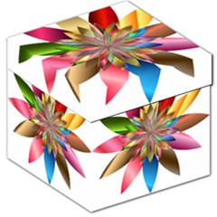 Chromatic Flower Gold Rainbow Storage Stool 12   by Alisyart