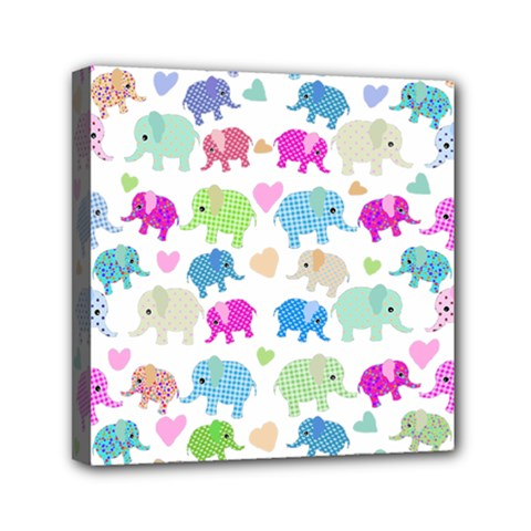 Cute Elephants  Mini Canvas 6  X 6  by Valentinaart