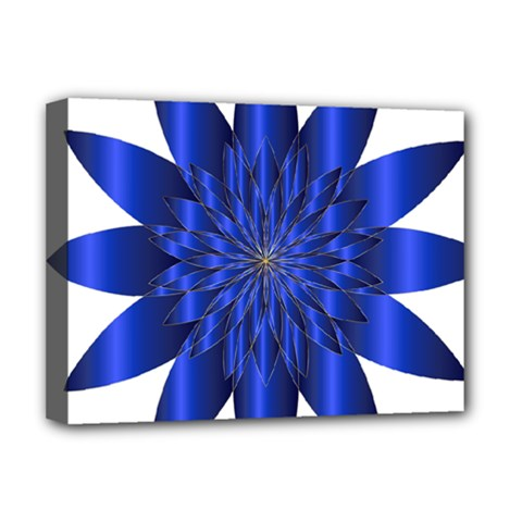 Chromatic Flower Blue Star Deluxe Canvas 16  X 12   by Alisyart