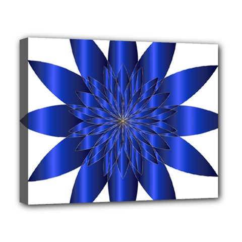 Chromatic Flower Blue Star Deluxe Canvas 20  X 16   by Alisyart