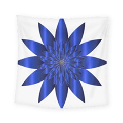 Chromatic Flower Blue Star Square Tapestry (small)