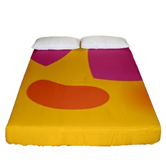 Emoji Face Emotion Love Heart Pink Orange Emoji Fitted Sheet (queen Size) by Alisyart