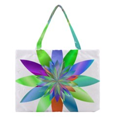 Chromatic Flower Variation Star Rainbow Medium Tote Bag by Alisyart