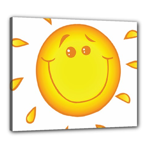 Domain Cartoon Smiling Sun Sunlight Orange Emoji Canvas 24  X 20  by Alisyart