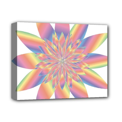 Chromatic Flower Gold Rainbow Star Deluxe Canvas 14  X 11  by Alisyart