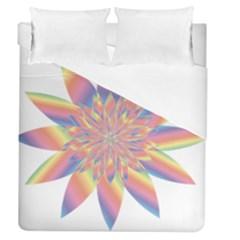 Chromatic Flower Gold Rainbow Star Duvet Cover (queen Size) by Alisyart