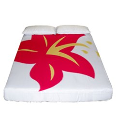 Flower Floral Lily Blossom Red Yellow Fitted Sheet (california King Size) by Alisyart