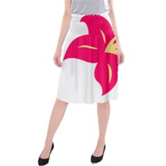 Flower Floral Lily Blossom Red Yellow Midi Beach Skirt by Alisyart