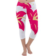 Flower Floral Lily Blossom Red Yellow Capri Yoga Leggings by Alisyart