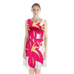 Flower Floral Lily Blossom Red Yellow Sleeveless Chiffon Waist Tie Dress by Alisyart