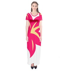 Flower Floral Lily Blossom Red Yellow Short Sleeve Maxi Dress by Alisyart