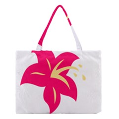 Flower Floral Lily Blossom Red Yellow Medium Tote Bag by Alisyart