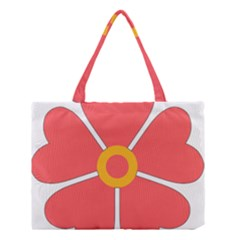 Flower With Heart Shaped Petals Pink Yellow Red Medium Tote Bag by Alisyart
