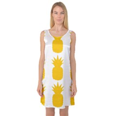 Fruit Pineapple Printable Orange Yellow Sleeveless Satin Nightdress by Alisyart