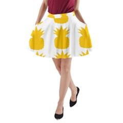 Fruit Pineapple Printable Orange Yellow A Line Pocket Skirt by Alisyart
