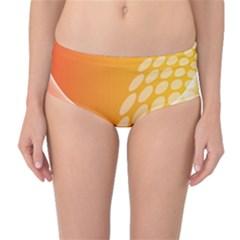 Abstract Orange Background Mid Waist Bikini Bottoms by Simbadda