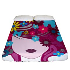 Floral Butterfly Hair Woman Fitted Sheet (queen Size) by Alisyart